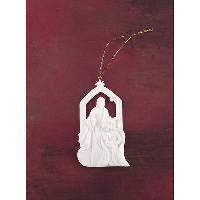 Ornament Holy Family White Resin