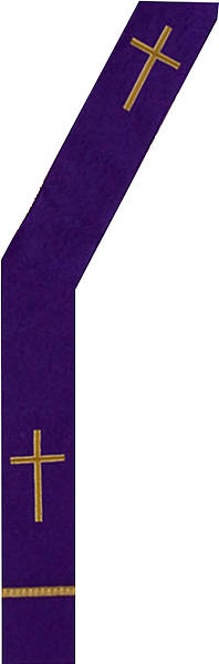 Gold Cross Purple Deacon Stole