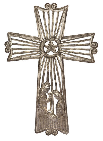 Picture of Nativity Metal Cross 20""