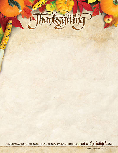 Great is Thy Faithfulness Thanksgiving Letterhead (Package of 100)
