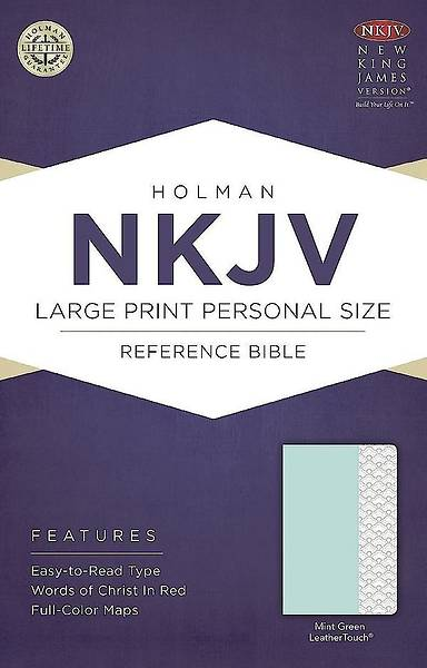 NKJV Large Print Personal Size Reference Bible, Mint Green Leathertouch