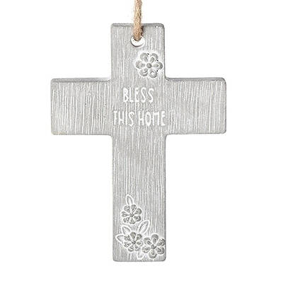 """Picture of Bless This Home Cement Cross 4"""""""