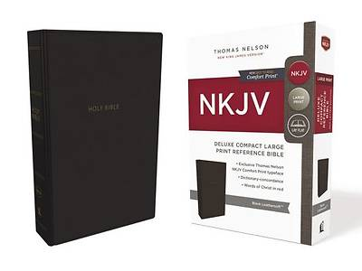 NKJV, Deluxe Reference Bible, Compact Large Print, Imitation Leather, Black, Red Letter Edition, Comfort Print