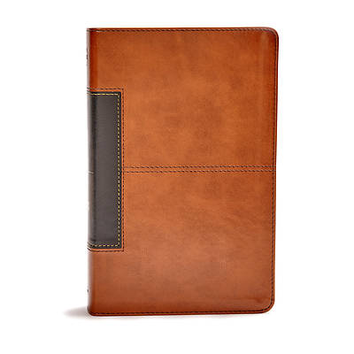 Picture of CSB Single-Column Personal Size Bible, Tan/Black Leathertouch