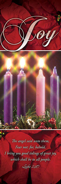 """Picture of Joy Advent Wreath 2' X 6"""" Fabric Banner"""