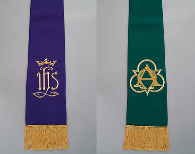 Reversible Ready-Made Purple And Green Stole