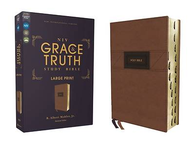 Picture of Niv, the Grace and Truth Study Bible, Large Print, Leathersoft, Brown, Red Letter, Thumb Indexed, Comfort Print