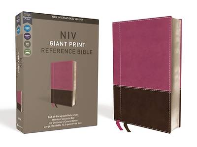 NIV, Reference Bible, Giant Print, Imitation Leather, Pink/Brown, Red Letter Edition, Comfort Print