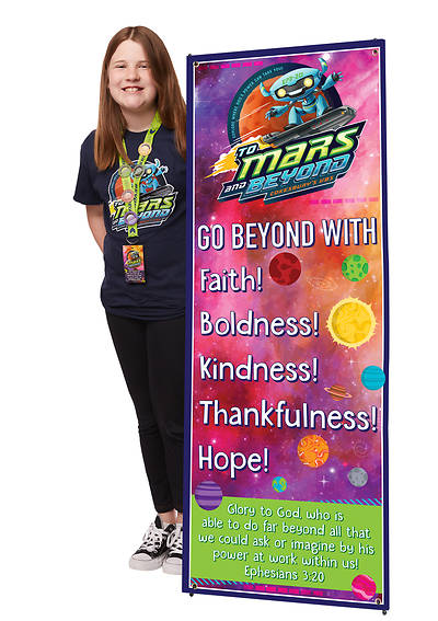 Vacation Bible School (VBS) 2019 To Mars and Beyond Theme Banner and Stand Combo