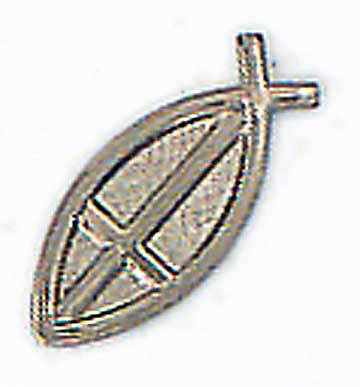 Fishermans Cross Silver Lapel Pin
