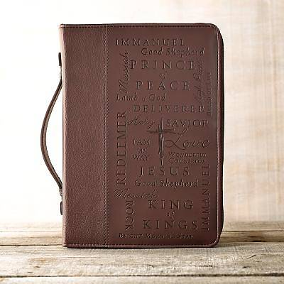 Picture of Bible Cover Name of Jesus Leather Burgundy Medium