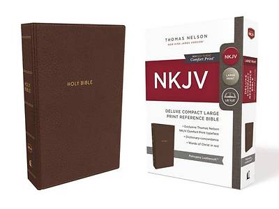 NKJV, Deluxe Reference Bible, Compact Large Print, Imitation Leather, Brown, Red Letter Edition, Comfort Print