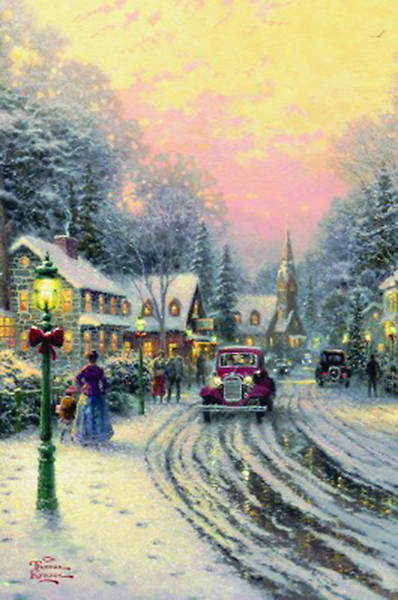 Thomas Kinkade Village Christmas Boxed Card