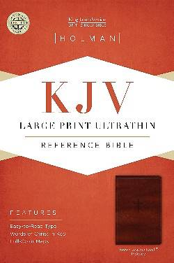 Picture of KJV Large Print Ultrathin Reference Bible, Brown Leathertouch Indexed