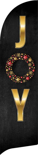 Picture of Joy Wreath Black and Gold Flag Banner