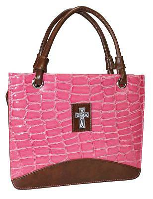 Picture of Purse with Silver Cross Croc Embossed Large Pink Bible Cover