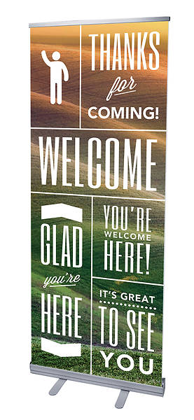 Phrases Welcome RollUp Banner with Stand