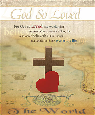Picture of God So Loved Heart Cross General Legal Size Bulletin