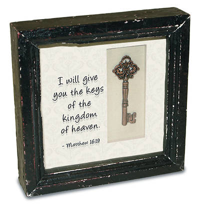 Framed Metal Key With a Scripture Passage