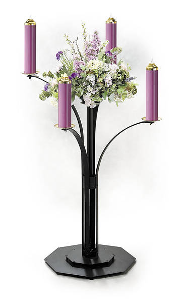 CONTEMPORARY ADVENT WREATH COMPLETE WITH 4 PURPLE