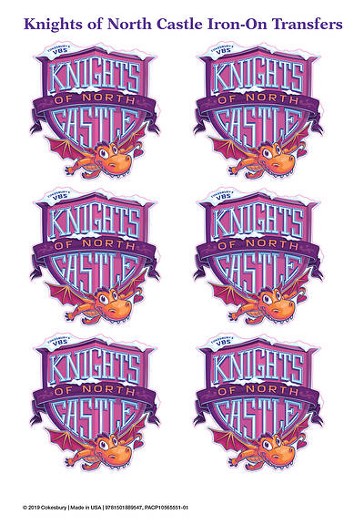 Picture of Vacation Bible School (VBS) 2020 Knights of North Castle Iron-On Transfers (Pkg of 12)