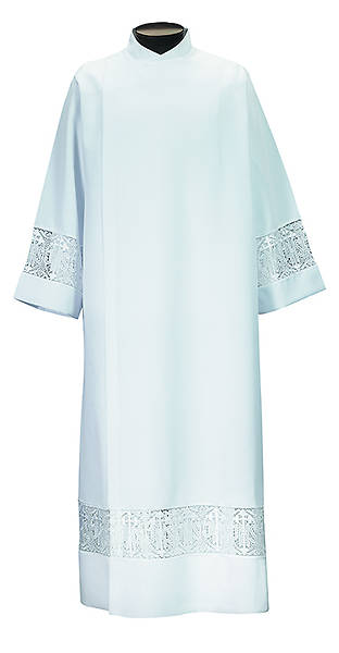 Mens Wrap Around Style Alb with IHS Lace Insert White - Large