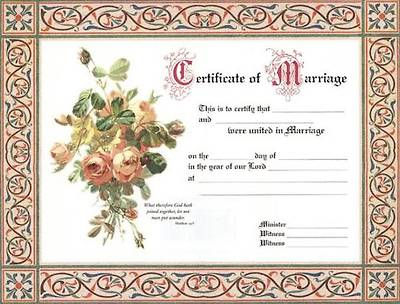 Picture of Certificates Wedding Package of 6