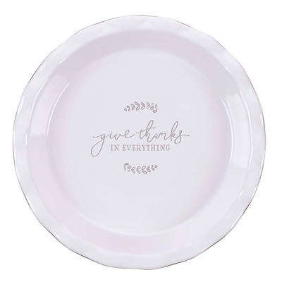 Picture of Pie Plate Ceramic 9.5 Give Thanks - 1 Thess 5