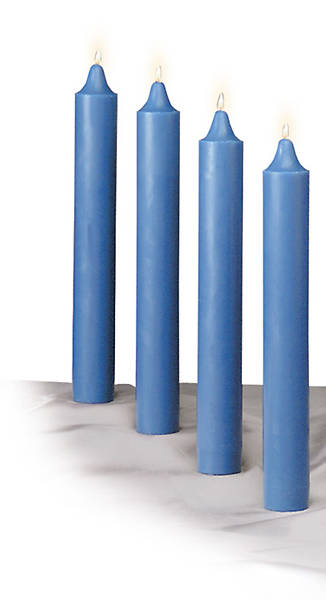 Set 4 Candle Advent 12 x 1 1/2 Blue