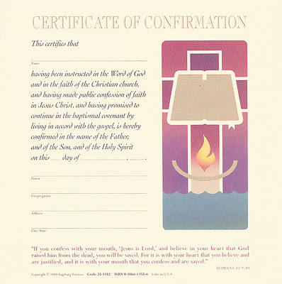Picture of Contemporary Full-Color Confirmation Flat Certificate (Package of 12)