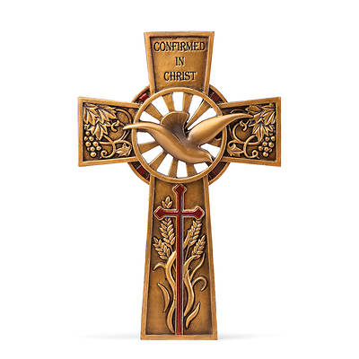 "Picture of 7.75"" Wall Cross - Bronze/Burgandy Joseph Studio Confirmation"