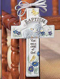 Baptism Cross with Ribbon Hanger