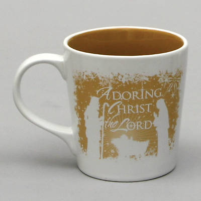 Adoring Christ the Lord Nativity Greetings Mug