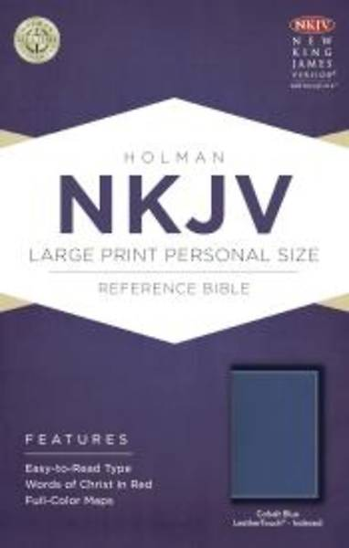 Picture of NKJV Large Print Personal Size Reference Bible, Cobalt Blue Leathertouch, Indexed