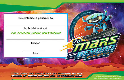 Picture of Vacation Bible School (VBS) To Mars and Beyond Leader Recognition Certificates (Pkg of 12)