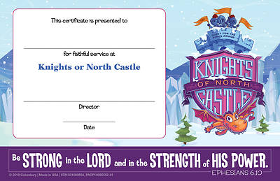 Picture of Vacation Bible School (VBS) 2020 Knights of North Castle Leader Recognition Certificates (Pkg of 12)