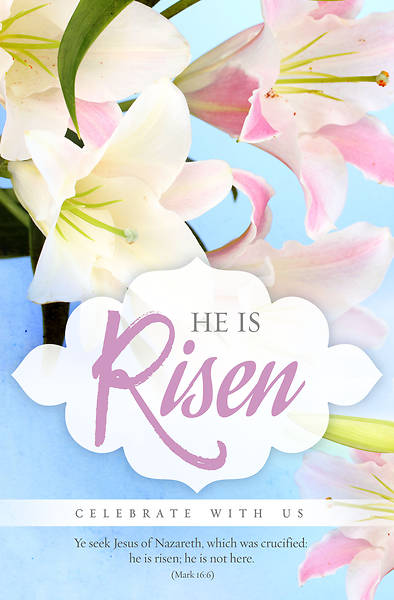 He is Risen Celebrate With Us Regular Size Easter Bulletin