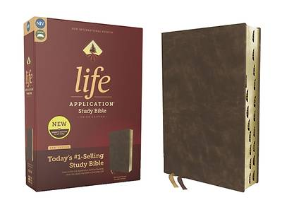 Picture of Niv, Life Application Study Bible, Third Edition, Bonded Leather, Brown, Red Letter, Thumb Indexed