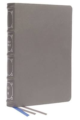 Picture of Nkjv, Reference Bible, Classic Verse-By-Verse, Center-Column, Genuine Leather, Gray, Red Letter, Comfort Print
