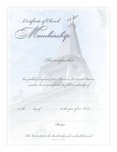 Certificate of Membership Acts 2:47 Package of 6