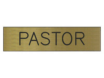 Picture of Pastor Black & Gold Sign 2x8 with Adhesive Back