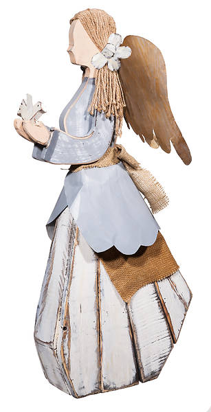 Creative Wood Angel with Bird Seasonal Garden Statue