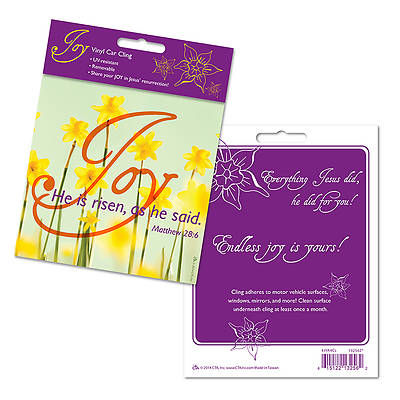 Joy He is Risen Vinyl Car Cling Package of 6