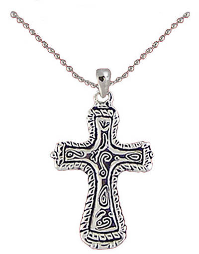 "Antique Silver Plated Cross w/Scroll Design 15""-17"" Ball Chain"