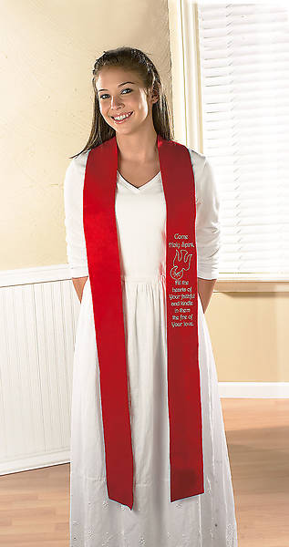 Come Holy Spirit Confirmation Stole - Red