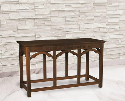 Large Engraved Communion Table - Walnut Stain