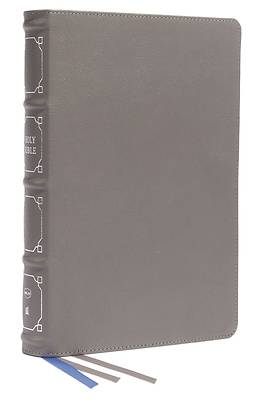 Picture of Nkjv, Reference Bible, Classic Verse-By-Verse, Center-Column, Genuine Leather, Gray, Red Letter, Thumb Indexed, Comfort Print