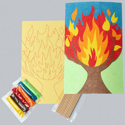 Picture of Vacation Bible School (VBS) 2021 Discovery on Adventure Island Burning Bush Sand Art (Pkg of 12)