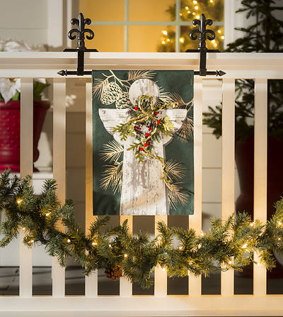 Picture of Woodgrain Angel Garden Linen Flag