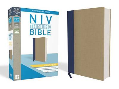 NIV, Thinline Bible, Giant Print, Cloth Over Board, Blue/Tan, Red Letter Edition